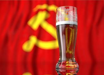 a glass of beer in front a communist flag. 3D illustration rendering.