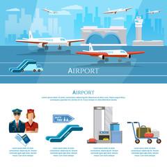 Airport infographics aircraft runway airline pilot stewardess