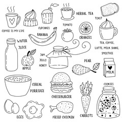Hand drawn breakfast food and icons doodle set. School lunch menu.