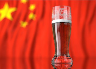 a glass of beer in front a chinese flag. 3D illustration rendering.