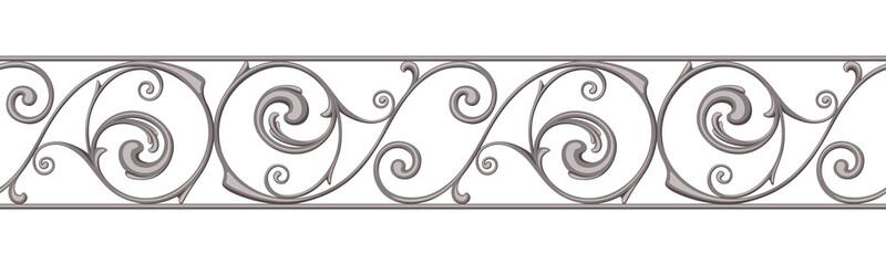 Cast iron border ornament on white. Vector horizontal seamless background.