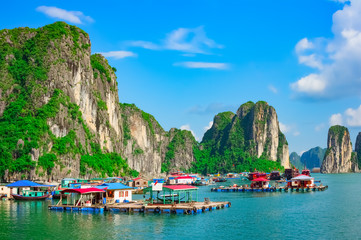 Floating fishing village and rock islands in Halong Bay, Vietnam