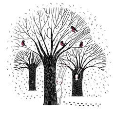 Beautiful trees, birds and rabbit.