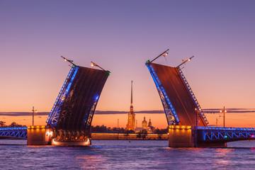 Palace drawbridge, White nights in Saint Petersburg, Russia