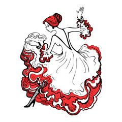 Girl in a beautiful ball gown. Spanish woman dancing flamenco. Gypsy woman. Hand drawn vector illustration.