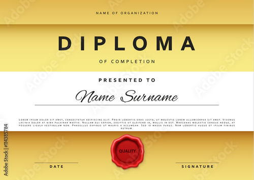 Template certificate design in gold color award certificate in template certificate design in gold color award certificate in flat style diploma frame awarding yadclub Gallery