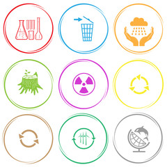 chemical test tubes, recycling bin, weather in hands, stub, radi
