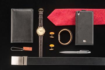 Men accessories on dark background