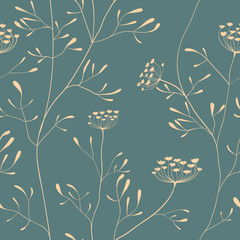 Cow parsnip seamless pattern