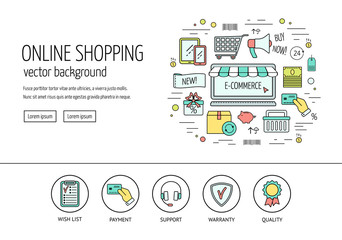E-commerce web design concept. Line icons for website and landing page. Web banner. Flat design. Vector