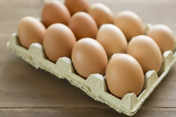 Chicken eggs in an egg cup