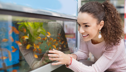 Positive brunette girl looking at tropical fish