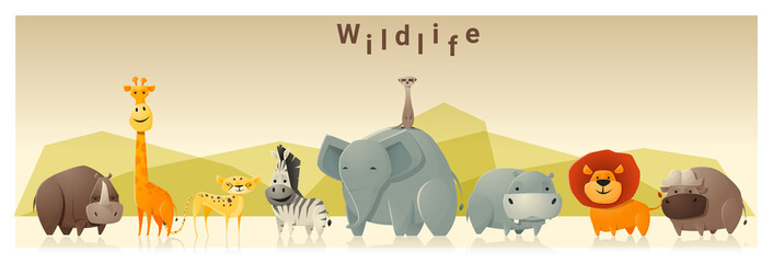 Wild animal background ,vector, illustration