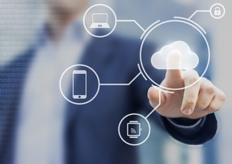 Data storage securely available from all devices with cloud computing