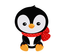 Illustration. Cute Christmas penguin in a sitting position with a bow on her neck.
