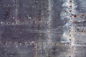 Background of metal sheets with rivets