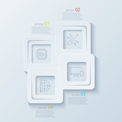 Vector modern creative infographics with thin line flat icons.