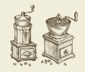 Vintage coffee grinder. Hand drawn sketch hot drink, retro object. Vector illustration