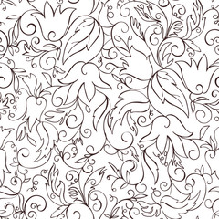 Abstract seamless pattern with hand drawning flowers.Vector.