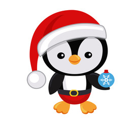 Cute Christmas penguin in hat Santa Claus. Vector illustration isolated on white background.