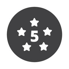 White Five Star icon on black button isolated on white