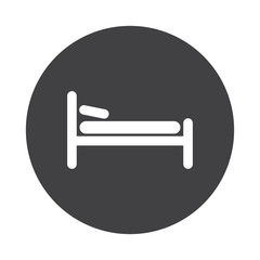 White Bed icon on black button isolated on white
