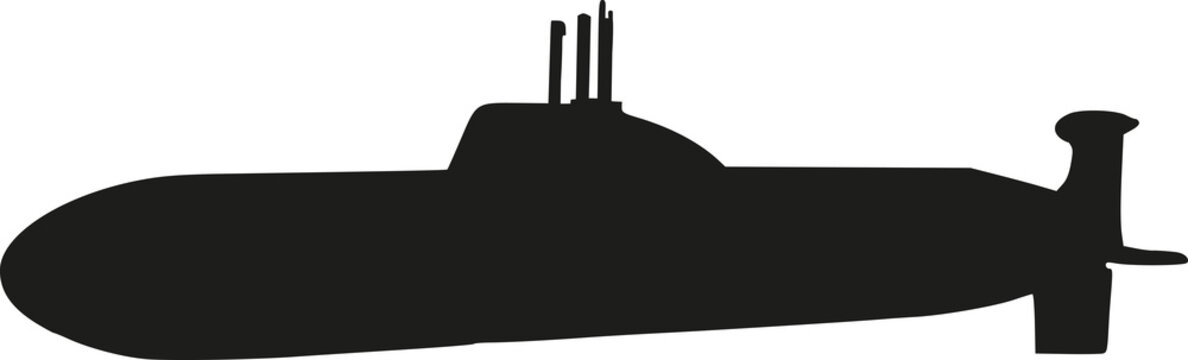 Submarine with periscope silhouette