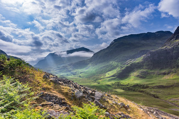 Scottish Highlands Valley at Spring, Sunlight Breaking Through the Clouds