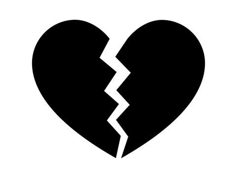 Heartbreak / broken heart or divorce flat icon for apps and websites