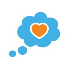 speech bubble dialog box heart love icon on white background