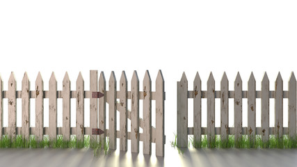 Wooden Fence with Open Gate Isolated on white. A wooden picket fence, with peeling white paint, with an open gate and grass growing at its base.