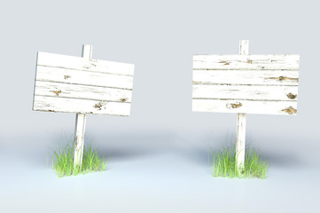 White Painted Wooden Sign Post