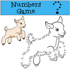 Educational games for kids: Numbers game with contour. Little cute baby goat.