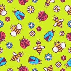 Pattern bee, wasp, ladybug, beetle