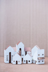 Miniature white wood house