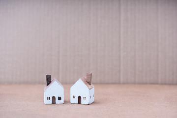 Miniature white wood house