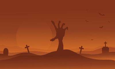 Brown backgrounds Halloween hand zombie silhouette