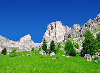 Beautiful mountain landscape in sunny day. Valle del Vajolet in Dolomites,Italien Alps