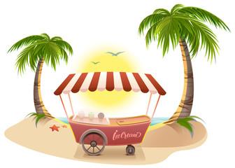 Ice cream truck among palm trees on tropical beach