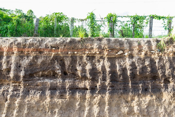 The curb erosion from storms. To indicate the layers of soil and rock