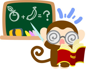 The pretty little monkey which does the figure of the teacher
