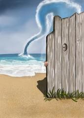 plage avec une barrière en bois derrière laquelle une personne  regarde à travers un trou pendant qu'une trombe d'eau s'approche d'elle