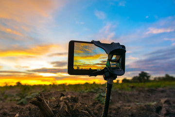 mobile phone shooting photo and time-lapse Beautiful color sunse