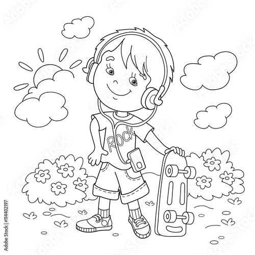Coloring Page Outline Of boy in headphones with skateboard\
