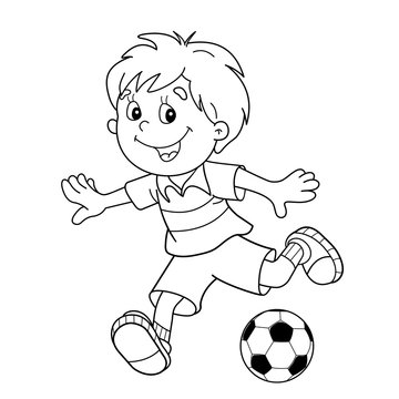 Coloring Page Outline Of cartoon boy with a soccer ball. Footbal