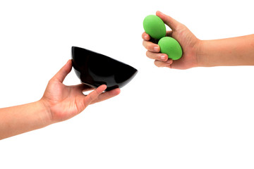 isolated hand holding egg