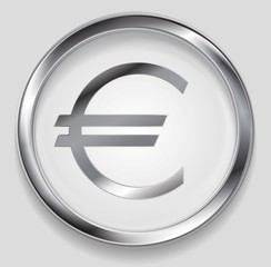 Concept metallic euro symbol logo button