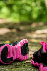 sport shoes in the forest on a footpath