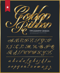 ribbon typography font logo type with Glossy gold decorative silk