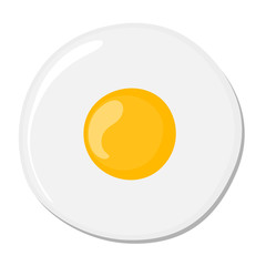Isolated fried egg on white background. Protein nutrition breakfast. Fast meal. White and yolk. Morning cooking.